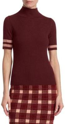 Akris Punto Wool Varsity Short-Sleeve Turtleneck Top
