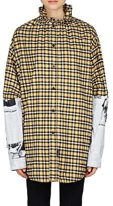 Balenciaga Women's Checked Flannel Oversized Shirt - Yellow