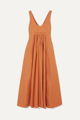 Three Graces London Laurette Open-back Shirred Cotton-poplin Maxi Dress - Orange