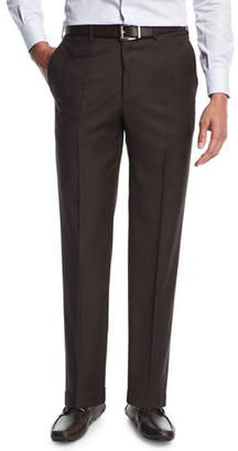 Brioni Sharkskin Flat-Front Trousers, Brown