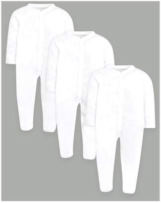Baby Essentials Mini Club 3 Pack White Sleepsuits with copper popper