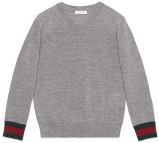 Gucci Stripe Cuff V-Neck Merino Wool Sweater