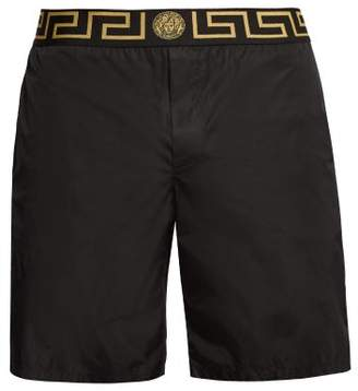 Versace Logo Jacquard Mid Rise Swim Shorts - Mens - Black Multi