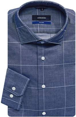 Seidensticker Chambray Windowpane Tailored-Fit Dress Shirt