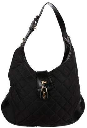 Burberry Leather-Trimmed Brooke Hobo