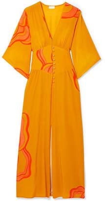 Jaline - Ellen Printed Silk Crepe De Chine Midi Dress - Orange