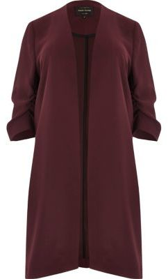 River Island River Island Womens Plus burgundy ruched sleeve duster coat