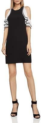 BCBGMAXAZRIA Cold-Shoulder Crepe Dress