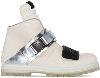 Birkenstock Rick Owens X white and metallic silver rotterhiker leather boots