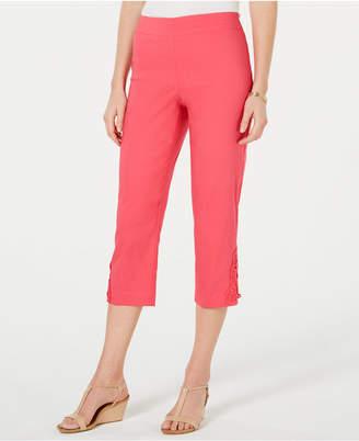JM Collection Crochet-Lace Applique Capri Pants