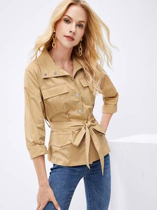 Shein Button Up Flap Pocket Belted Utility Jacket