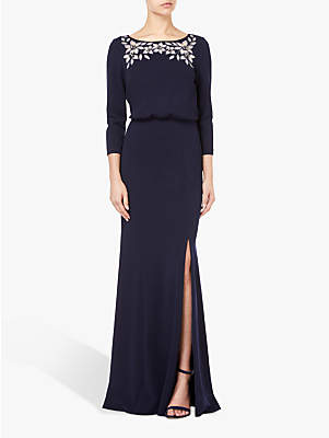 Adrianna Papell Floral Long Knit Dress, Midnight Blue