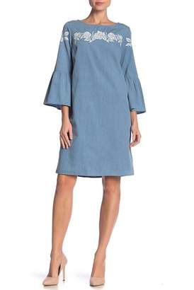 Jones New York Chambray Long Sleeve Dress