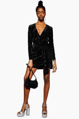 Topshop Womens Stud Velvet Frill Dress