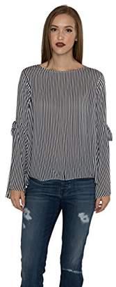 Velvet by Graham & Spencer Women's Vertical Stripe Tie Sleeve Blouse