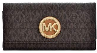 Michael Kors PVC Leather Fulton Flap Continental Wallet - Brown - 32S7GFTE3B-200