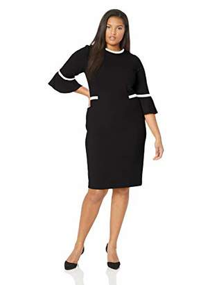 Calvin Klein Women's Plus Size Bell Sleeve Dress with Contrast Piping