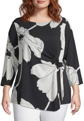 Liz Claiborne 3/4 Sleeve Tie Waist Blouse - Plus