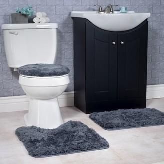 Somerset Home 3 Piece Super Plush Non-Slip Bath Rug Set - Platinum