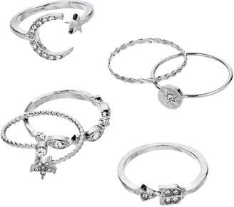 Silver Tone Simulated Crystal Moon & Stars Ring Set