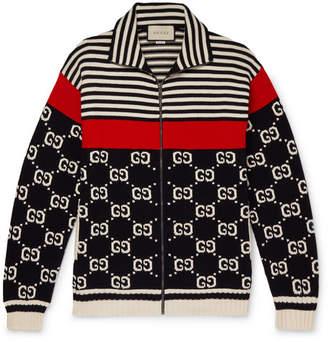 Gucci Logo-Intarsia Striped Cotton Zip-Up Sweater - Men - Navy