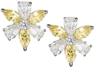 FANTASIA CZ Flower Cluster Earrings, Canary/Clear
