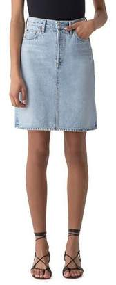 A Gold E AGOLDE Iris High-Rise A-Line Light-Wash Denim Skirt