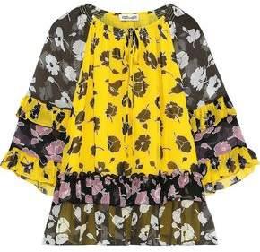 Diane von Furstenberg Anabel Ruffled Floral-print Silk-gauze Blouse