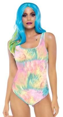 Leg Avenue Women's Fashion Festival Clothing Rainbow Tie Dye Bodysuit, Multi, Large