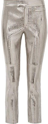 Isabel Marant Novida Metallic Striped Leather Skinny Pants - Silver