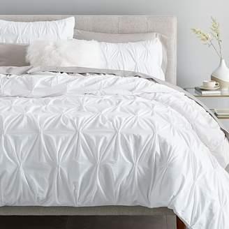 west elm Organic Pintuck Duvet Cover - White