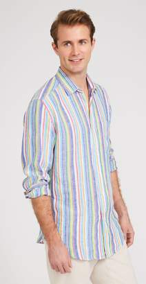 J.Mclaughlin Gramercy Classic Fit Linen Shirt in Multi Stripe