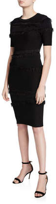 Milly Tiered Fringe Short-Sleeve Fitted Sheath Dress
