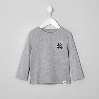 River Island Mini boys grey waffle long sleeve top