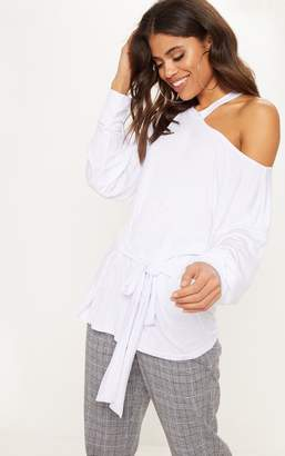 PrettyLittleThing Grey Cut Out Belted Long Sleeve Top