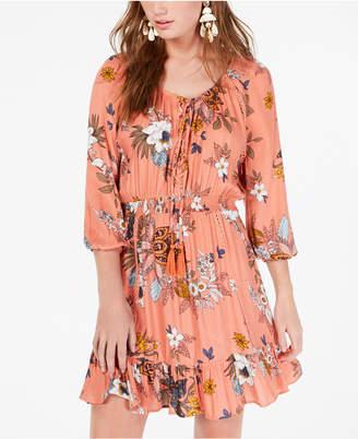 4282d30e7 American Rag Juniors' Printed Lace-Up Peasant Dress