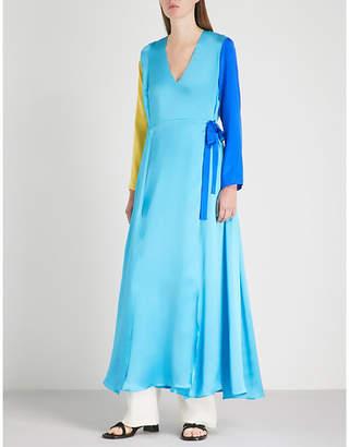 Leone WE ARE Colourblocked silk-satin maxi wrap dress