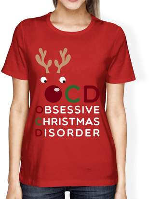 365 Printing inc 365Printing OCD Obsessive Christmas Disorder Red Women's Tee Cute Holiday Gift