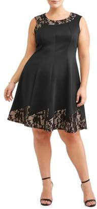 Paperdoll Women's Plus Size Sleeveless Lace Pieced Party Dress
