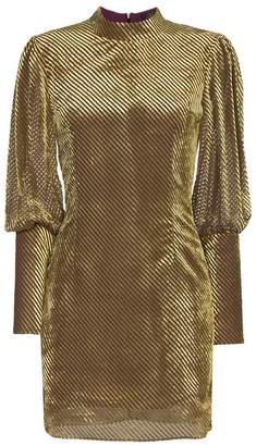 Blend of America De La Vali Jane stripe velvet silk mini dress