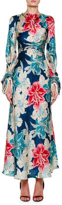 Etro Ruched-Sleeve Lily Floral Jacquard Dress