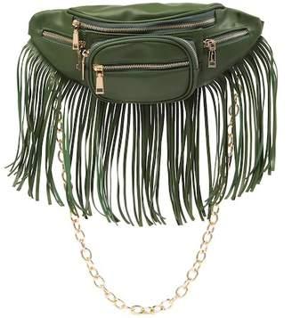 RAJ IMPORTS Front Zip Fringe Chain Belt Bag