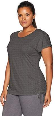 Fruit of the Loom Women's Plus Size Crossback All-Over Mesh Drawstring Top