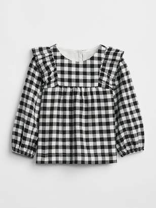 Gap Plaid Ruffle Top