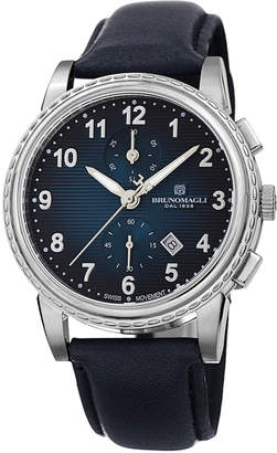 Bruno Magli Men's Dante 42mm Chronograph-Date Watch, Blue/Silver