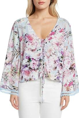 Willow & Clay Print Lace-Up Top