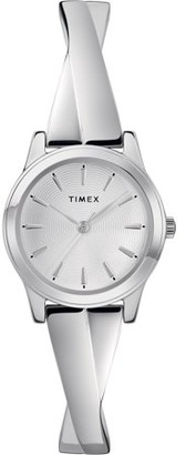 Timex Women's Stretch Bangle Crisscross 25mm Silver-Tone Watch, Expansion Band