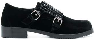 Loriblu crystal-embellished double monk-strap shoes