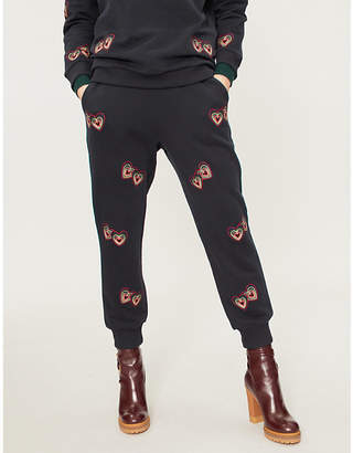 Chinti and Parker Heart–embroidered cotton-jersey jogging bottoms
