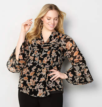 Avenue Floral Bell Sleeve Pleated Blouse
